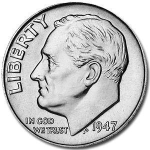 (1947 S Roosevelt Dime BU Dime Brilliant Uncirculated)