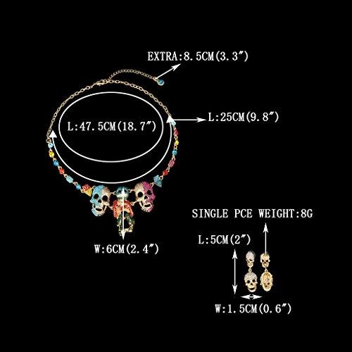 EVER FAITH® Plaqué Or Cristal Halloween Crâne Squelette Collier Boucle d'Oreilles Parures Coloré A13260-1