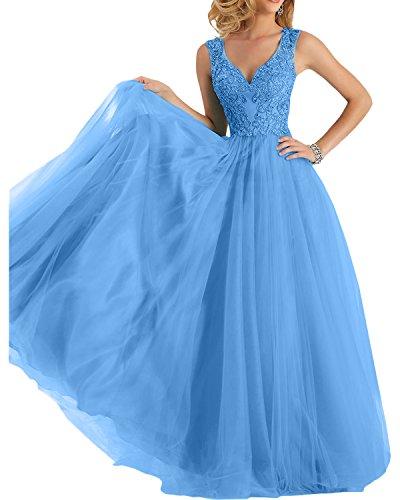 Langes Blau Damen Abendkleider Partykleider Spitze Charmant linie A Promkleider Lang Abschlussballkleider Rock 5gOq1x