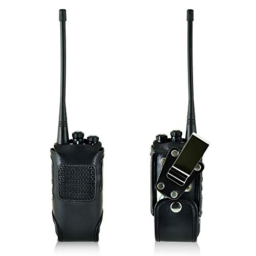 Hytera HYT TC-508 Turtleback Black Leather Two-Way Radio Fitted Case with Heavy Duty Rotating Metal Belt Clip - Made in USA by TurtleBack