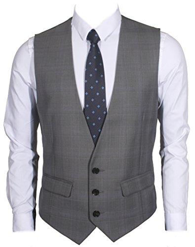 Ruth&Boaz Men's 2Pockets 3Button Business Suit Vest (XXXL, GLEN PLAID CHECK GRAY)