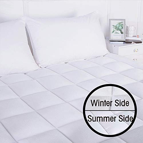 DREAMFLYLIFE Queen Mattress Pad Cover-400TC Spring Fabric and 180GSM Flannel Reversible Cover Queen Size Pillow Top All Season Hypoallergenic Mattress Topper Deep Pocket (Fitted 8-21 in)