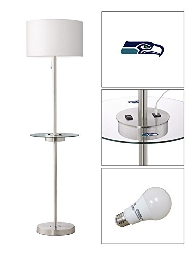 The Furniture Cove Satin Steel Floor Lamp with Table, USB, Electrical Outlet Featuring Your Favorite Football Team Logo - FREE LED BULB INCLUDED (Hawk Floor Lamp)