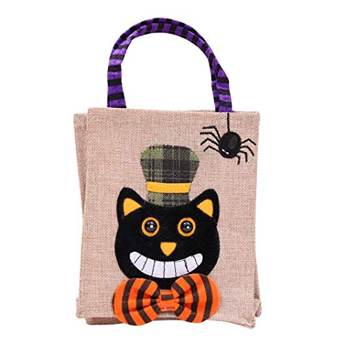 Halloween Tote Bags, SUJING Trick or Treat Halloween Tote Bag Halloween baskets Linen Party Gift Candy Bag (A)