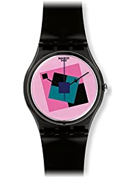 Crazy Square Pink Dial Black Rubber Unisex Watch GA109