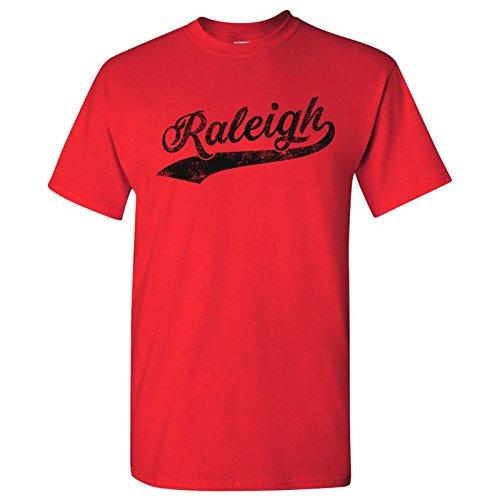 - Raleigh City Baseball Script Basic Cotton T-Shirt - Medium - Red