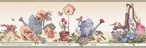 Jardinería Country cenefa de papel pintado de flor de Pascua - verde Hrb3997