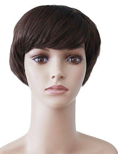 Sin tapa corto castaño ondulado sintético de alta calidad japonesa Kanekalon Partes cómicas pelucas