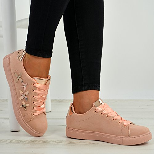 Cucu Fashion New Womens Lace Up Flower Trainers Ladies Studded Plimsoll Sneaker Shoes Size UK Pink luiLFI