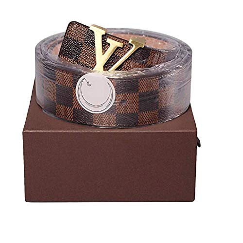 Trozk Brown-Gold fashion leather metal buckle belt(110cm)