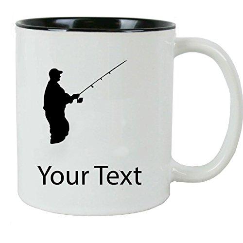 Personalized Custom Fishing, Fly Fishing Add Your Custom Text Ceramic 11 Oz Coffee Mug Customizable with Gift Box