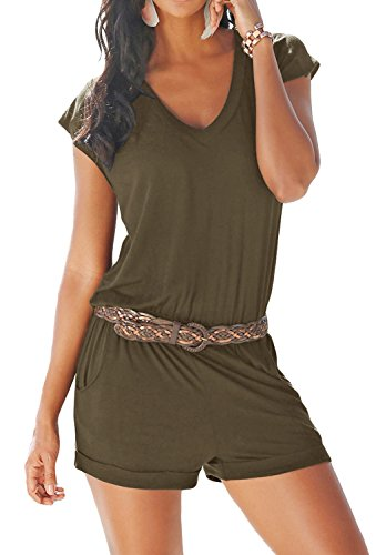 Yidarton Women's Casual Summer Sleeveless V-Neck Elegant High Waist Elastic Beach Pants Jumpsuit Rompers (ArmyGreen, XX-Large) (20 Romper)