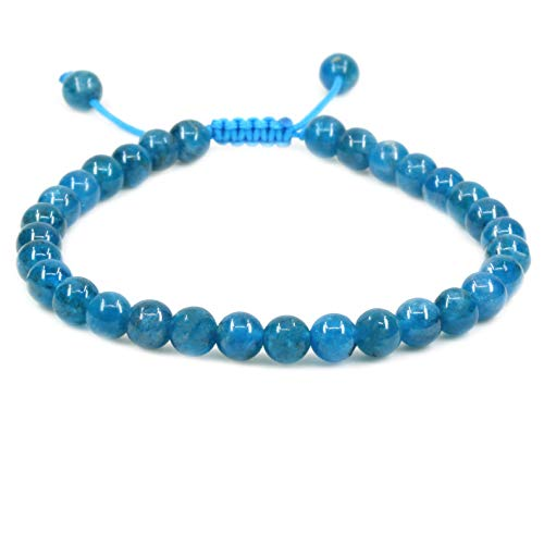 Apatite Wire - Natural Blue Apatite Gemstone 6mm Round Beads Adjustable Braided Macrame Tassels Chakra Reiki Bracelets 7-9 inch Unisex