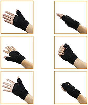 Thumb Brace Stabilizer Splint Spica Wrist Guard, Reversible, Single (1), One Size, Carpal Tunnel, Right and Left Hand, 3 Straps Adjustable, Fits Around Wrist 5.5-10.5 Inches