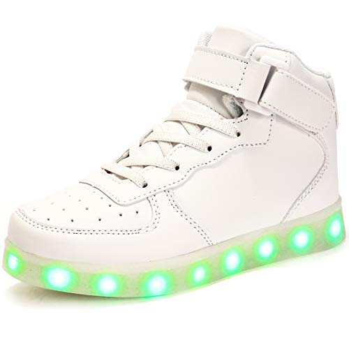 (FLARUT Kids High Top LED Shoes Light Up USB Charging Boys Girls Sneakers(US 11 Little Kid/EU 29,White))