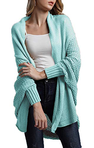 HZSONNE Women's Casual Long Bat Wing Sleeve Open Cardigan Chunky Crochet Slouchy Wrap Sweater Blouse Knitted Tops (Sky Blue, One Size)