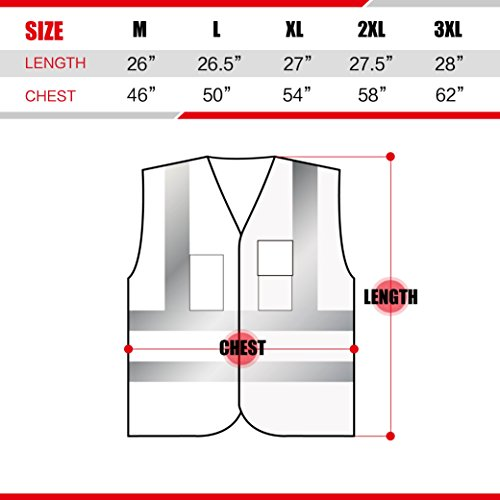 XSHIELD XS0006,High Visibility Mesh Safety Vest with Silver Stripe,ANSI/ISEA 107-2015 Type R Class2 Not FR,Pack of 5 (XL, Yellow) by X-Shield (Image #3)