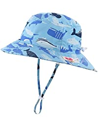 Home Prefer Kids UPF50+ Safari Sun Hat Breathable Bucket Hat Summer Play Hat XL Suggest to 4T-8T, Whale Light Blue