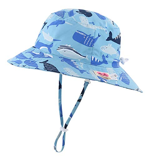 Home Prefer Kids UPF50+ Safari Sun Hat Breathable Bucket Hat Summer Play Hat XL Suggest to 4T-8T, Whale Light Blue -