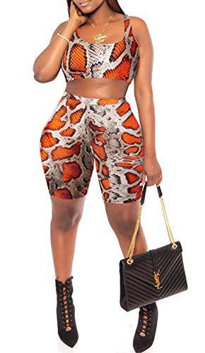 Orange Outfit - Womens Sexy Snakeskin Animal Print Bodycon Outfit Tank Shorts Tracksuit Active Bottom Jogger Set Orange