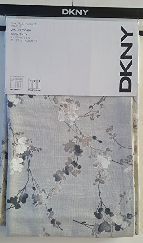 Curtains Panels Neutral Floral Pattern on Gray DKNY Pair of Extra Long Window Rod Pocket Panels Drapery Set of 2, Taupe, White and Gray on Gray Background- Wallflower - 50 Inches by 84 Inches