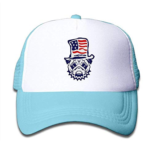 Rbfqfm Mesh Baseball Caps Kids Youth Snapback Hats Bulldog American Flag