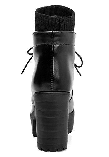 YE Damen Blockabsatz Plateau High Heel Stiefeletten mit Schnürung und Stricken Elegant Herbst Winter Schuhe Short Ankle Boots Schwarz