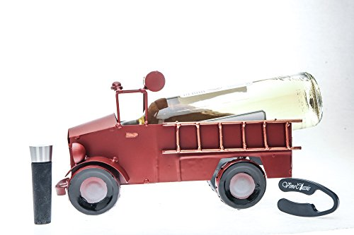 Painted Fire Truck Metal, Tabletop Wine Bottle Holder with a Wine Bottle Vacuum Stopper and Foil ()