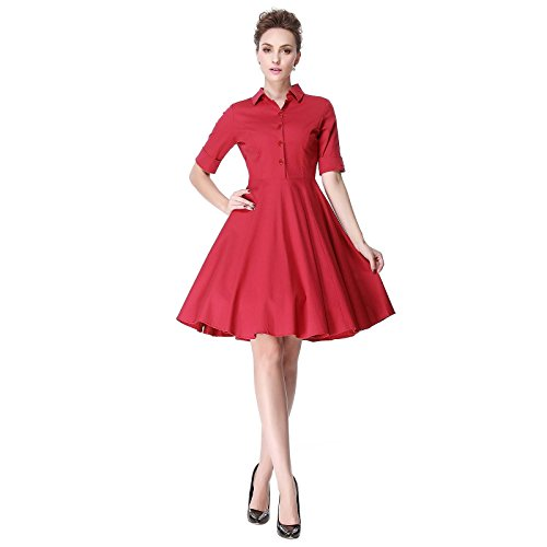 [Heroecol Vintage 1950s 50s Dress Style Retro Rockabiily Cocktail PoloNeck L RD] (Retro Housewife Costume)