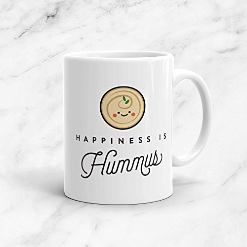 Happiness is Hummus Mug, 11oz, Vegan, Vegetarian, Plant Based, Foodie, Healthy, Vegetables, Kawaii, Cute, Funny, Love, Gift, 11oz, 15oz, tea cup