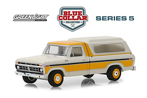 1977 Ford F-100 with Camper Shell, Orange with White - Greenlight 35120D/48 - 1/64 Scale Diecast Model Toy Car