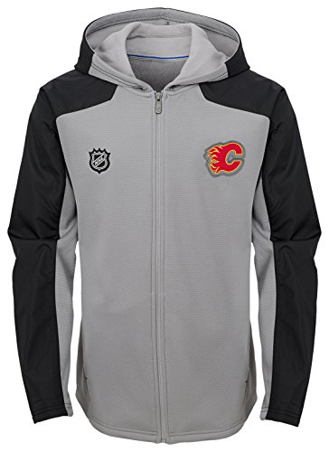 Outerstuff NHL Calgary Flames Youth Boys Delta Full Zip Jacket, Medium(10-12), Magenta Pique Heather