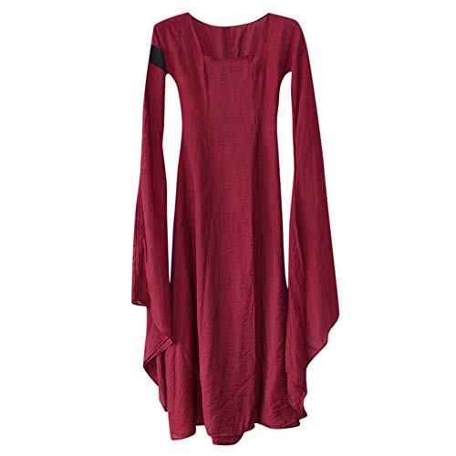 LOKODO Women Fall Winter Medieval Gothic Retro Solid Long Sleeve Ball Gowns Maxi Dress Cosplay Costumes for Women Wine 5XL]()