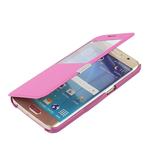 Slim Flip Cover for Samsung Galaxy S6 Edge (Hot Pink) - 3