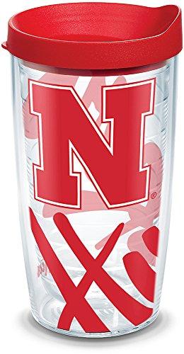 Tervis 1289736 NCAA Nebraska Cornhuskers Tumbler With Lid, 16 oz, Clear