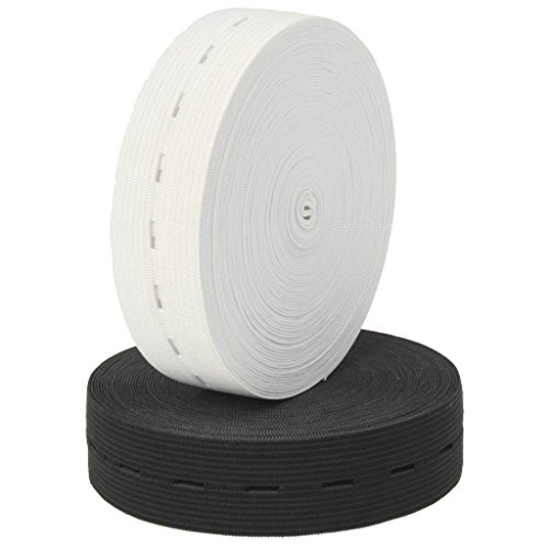 Buttonhole Fabric (Ninepeak 10 Yards of 1-inch Buttonhole Elastic Band (5 Yards of White,5 Yards of Black))