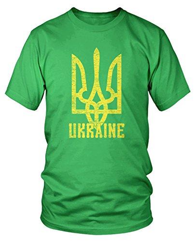 Amdesco Men's Ukrainian Coat of Arms, Ukraine Tryzub T-Shirt, Kelly Green -