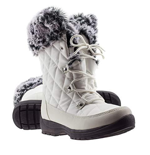ArcticShield Women's Warm Waterproof Insulated Comfortable Memory Foam Fur Winter Snow Boots (7 D(M) US Women's, Snow White)