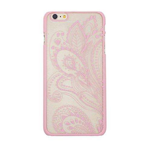 Culater® für iPhone 6 retro geschnitzte Damast Henna Blumen Tasche zurück case cover Hülle rosa