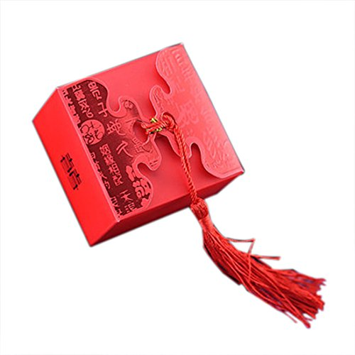 autulet 50 Pcs Extra Large Wedding Party Gift Boxes Red Paper Box Jewellery Packaging Supplies Handmade Storage (Candies or chocolates not included)