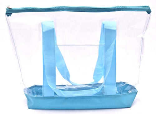 Clear Tote Bag - Top Zipper Closure, Long Shoulder Strap and Attractive Fabric Trimming. Perfect Transparent Travel Tote for all Places and Events where Clear Bags are Required. (Teal) by Handy Laundry (Image #1)