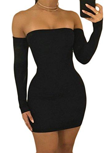 Donne Lace Vestito Lunga Cromoncent spalla Clubwear Nera Delle Fuori Up Backless Manica wBqrBt0