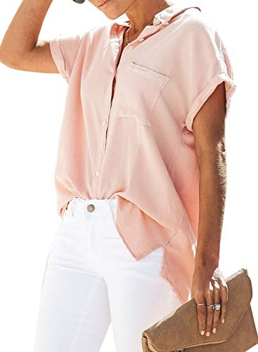 Astylish Womens Summer Casual V-Neck Basic Cuffed Sleeve Button Down Collar Tunic Shirts Tops Blouses for Women Fashion 2019 Short Sleeve Large 12 14 Pink