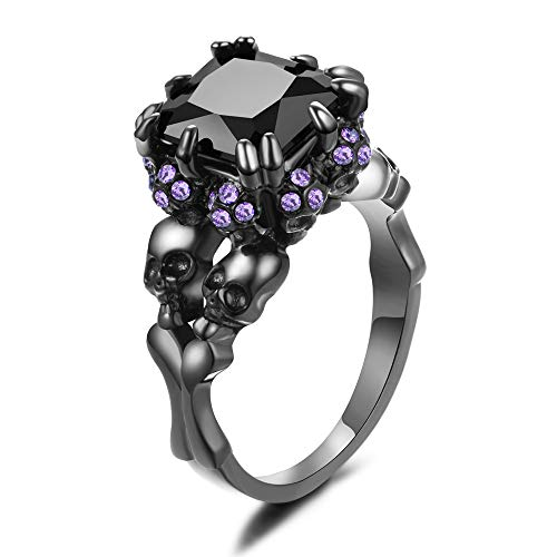 XIEXIELA Women's Cubic Zirconia Skull Stainless Steel Rings Black Claw Gothic Band Cool Party Jewelry Purple CZ Black Size 5