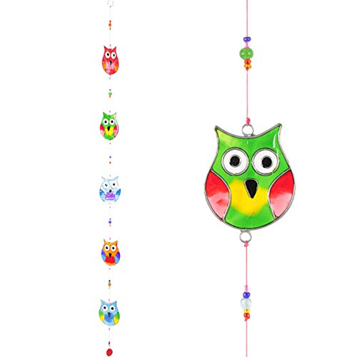Hang Stained Glass Window (Hanging String Of Multi Coloured Stained Glass Effect Owls Suncatcher Mobile ~ Owl Sun Catcher)