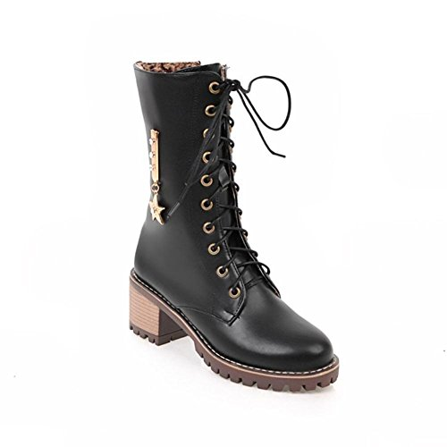 NVXIE Womens Locomotive Boots Lace Artificial PU Rough Heel Round head Black Brown Fall Winter Party Work EUR41UK758 6oslqcILu1