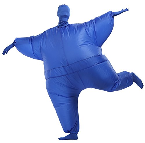 SASALO Adult Inflatable Full Body Suit Fat Chub Suit Halloween Funny Blow up Costume Jumpsuit Blue