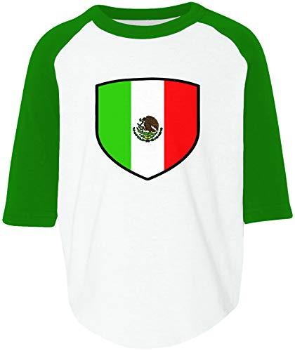 6cadfd4a8 Amdesco Mexico Shield Mexican Flag Toddler Raglan Shirt