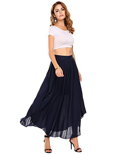 (Zeagoo Casual Pleated Vintage Skirts for Women, Type6-blue, Large)