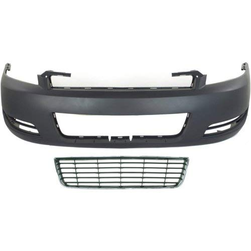 Bumper Cover Kit Compatible with CHEVROLET IMPALA 2006-2011 Set of 2 With Bumper Cover and Grille Assembly